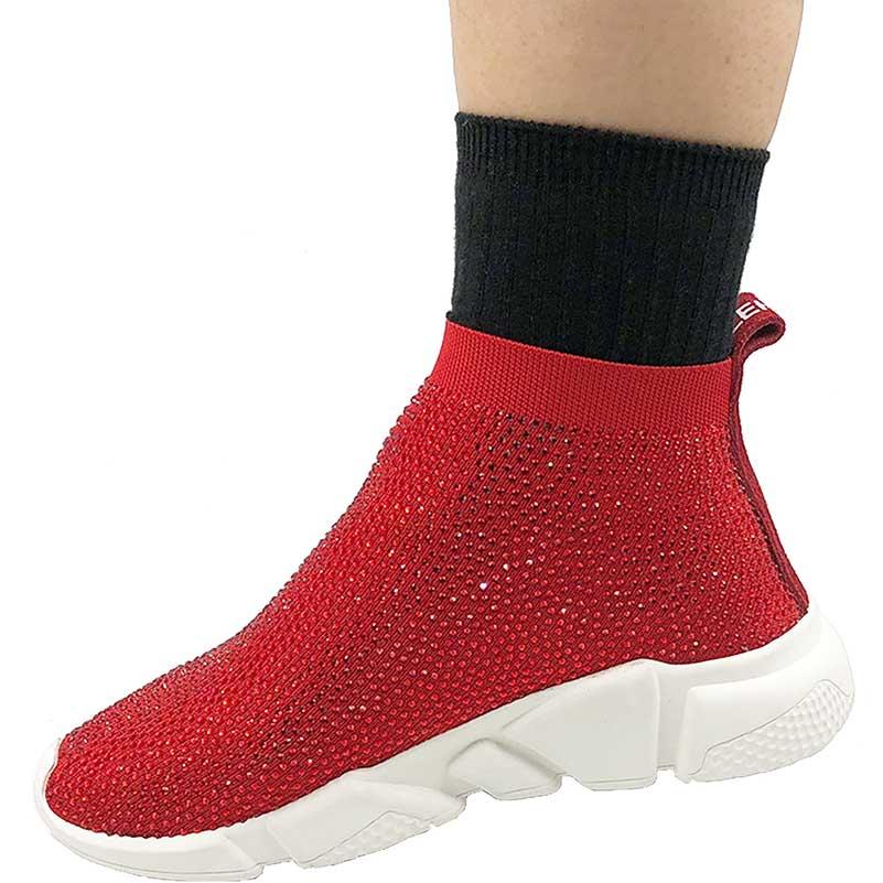 Elehot Rhinestone Red Sock Sneakers (4)