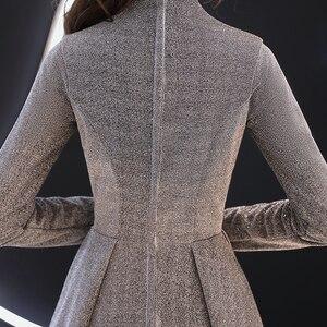 Image 5 - wei yin 2020 Women Long Sleeve Evening Gowns Celebrity Dress Elegant Formal Long Dresses Satin A line Evening Dresses WY1509