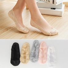 Summer Ankle Fashion Cotton Women Lace Slipper Socks Invisible Seamless Girls Low Cut Boat Thick