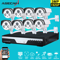 New Super 8CH 1920P Best Night Vision Security Camera System IR Array Bullet CCTV System Kit