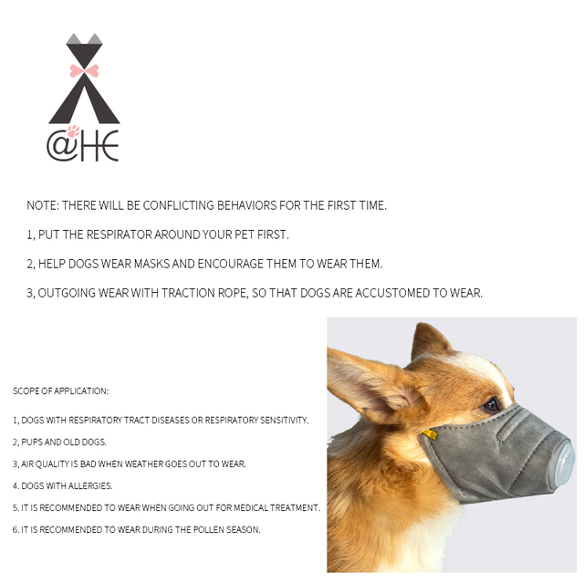 @HE Dog Soft Face Cotton Mouth Mask  Pet Respiratory PM2.5 Filter Anti Dust Gas Pollution Muzzle  Anti-fog Haze Masks For Dogs 2