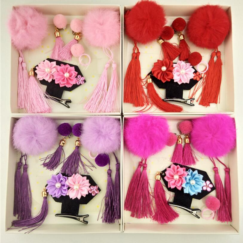 2018 New Year girls Hair Accessories gift box Kids princess pom pom hair clip headwear tassel costume earrings ring 6pcs/set  T6 new hair claw for women girl elegant high quality hair clip party decorations holiday gift accessories