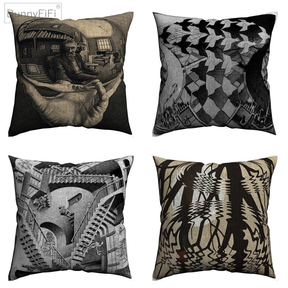 Escher Surreal Arte Decorativa Cotton Linen Capa de Almofada Geométrica 45x45 cm Para Cadeira Do Sofá Almofada Fronha Home Decor
