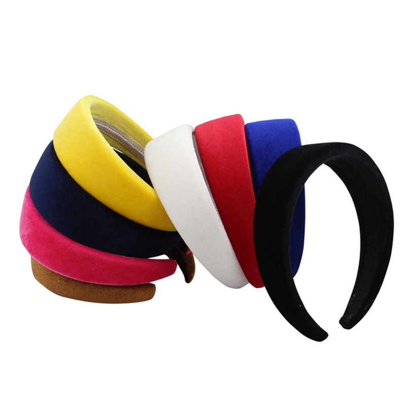 Velvet Hair Accessories Headband For Women 4CM Plastic Padded Hairbands Fashion Headwear Head Band