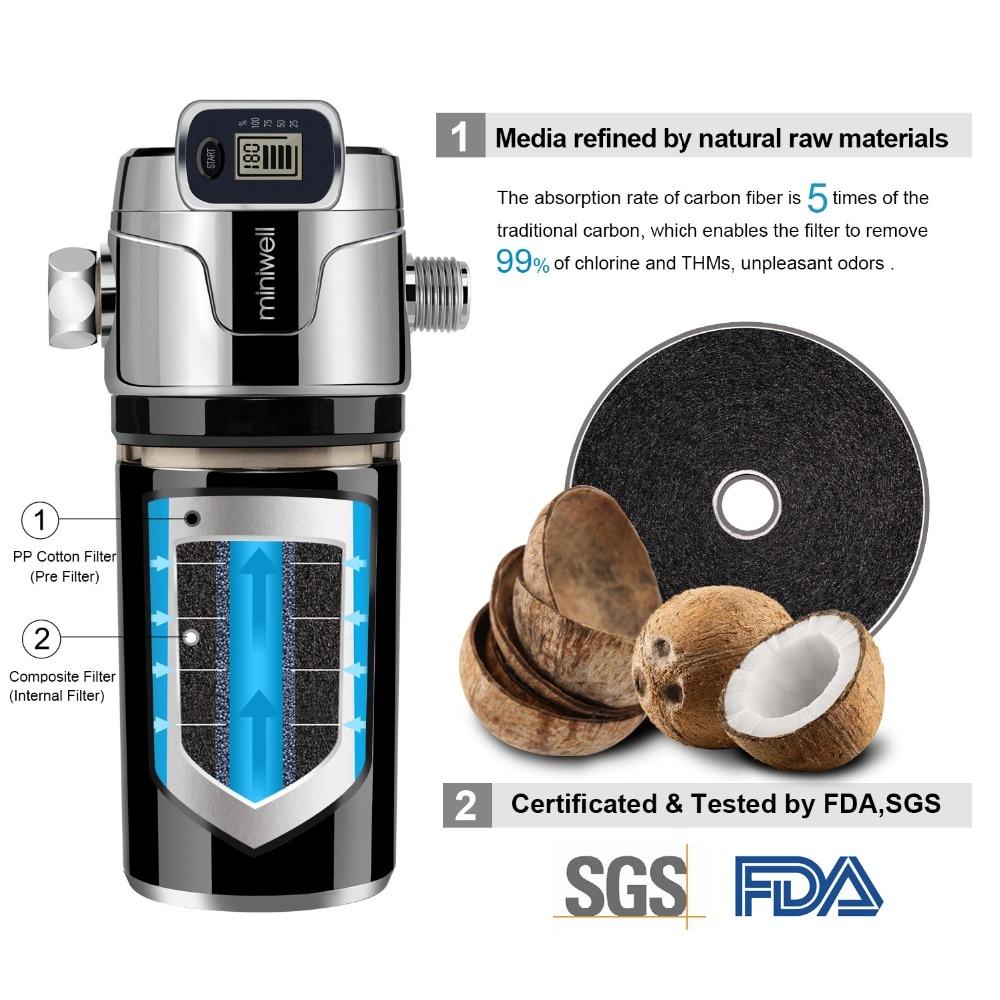 Купить miniwell l760 e201 душевой фильтр черный цвет с электронным