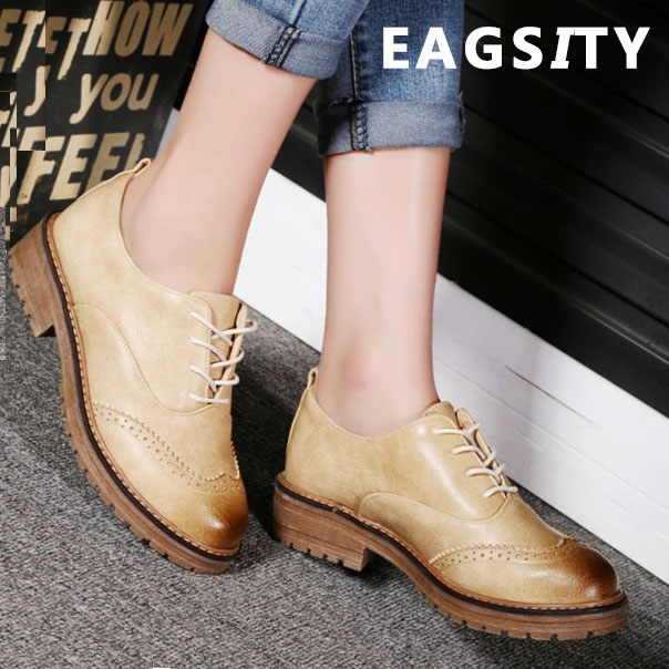 EAGSITY Women oxford shoes lace up