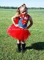 Супермен Batgirl Девушки Туту Платье Костюмы Косплей Девушка Дети Платье До Колен Пушистые Halloween Party Girls Костюм PT61