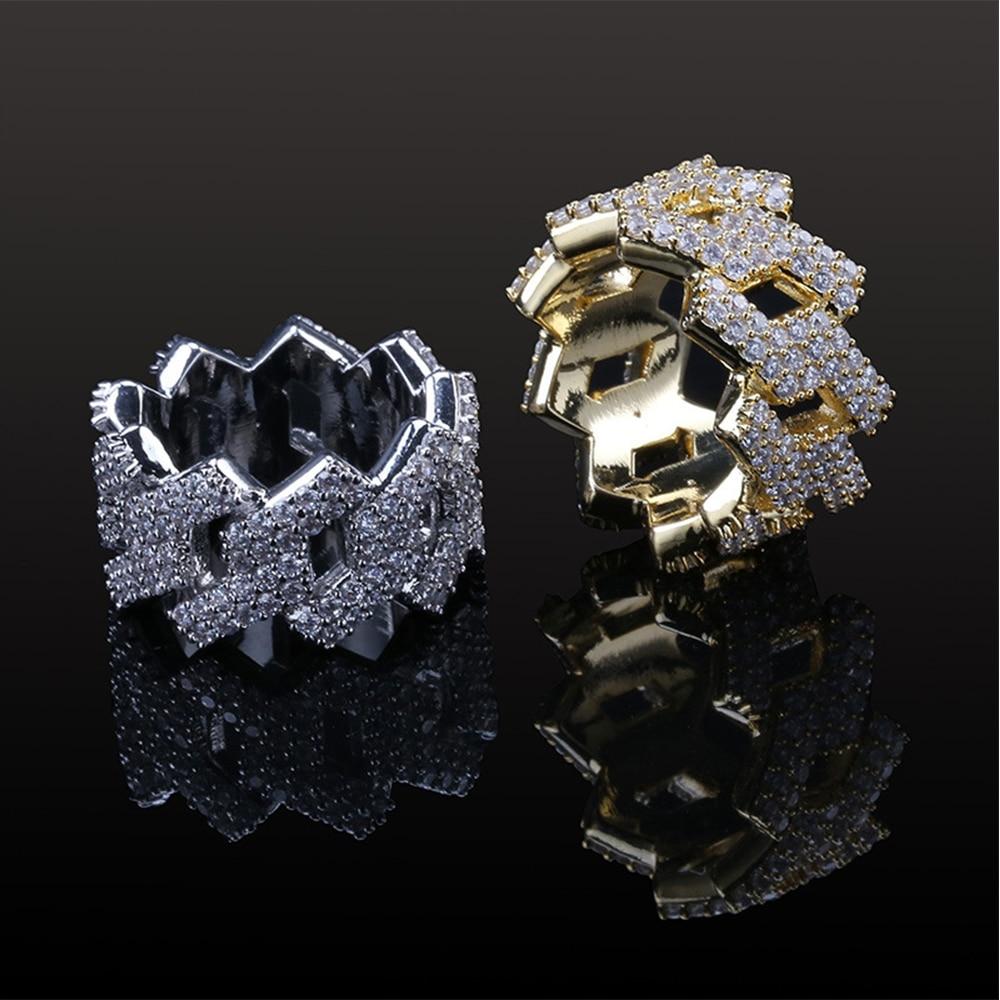 Nouveau hommes femmes glacé AAA CZ Hip Hop Punk anneau cuivre charme or argent couleur cubique Zircon géométrique bague livraison directe