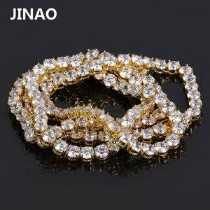"Image 5 - JINAO היפ הופ שרשרת זהב/כסף צבע כל אייס מתוך נחושת מיקרו פייב CZ אבן 6mm טניס שרשרת שרשרת עם 18 ""20"" 24 ""30"""