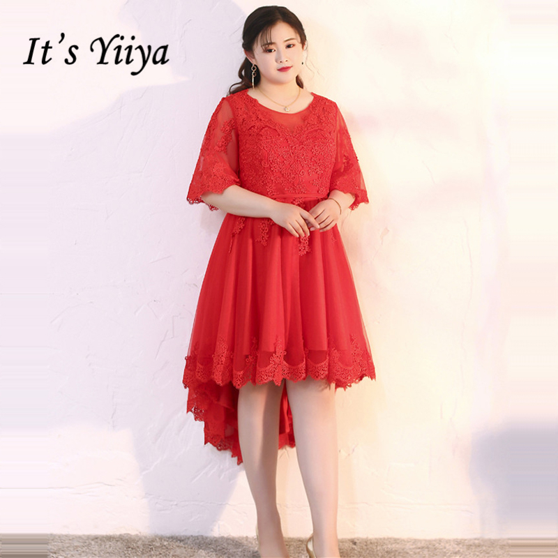 Gewissenhaft Es Der Yiiya Prom Kleider Mädchen Rote Oansatz Halben Hülse Plus Größe Spitze High/low Mode Prom Kleider Formale Kleider Dm028 Weddings & Events