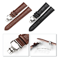 16-24mm Watch Band Strap Butterfly Pattern Genuine Leather Deployant Buckle Bracelet Brown Black Watchbands