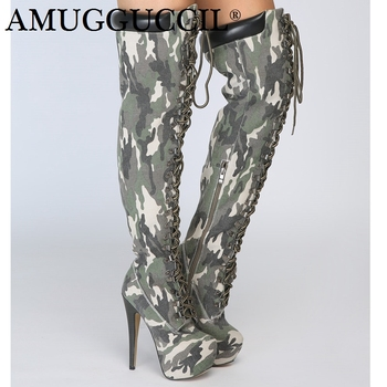 Customize Plus Big Size 34-52 Camouflage Zip Lace Up Sexy Thigh High Heel Platform Over The Knee Autumn Winter Women Boot X1751