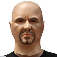 Uomo artificiale In Lattice Maschera Cappuccio In Testa Parrucche barba Pelle Umana Disguise trucco di Burla di Halloween costume silicone Realistico