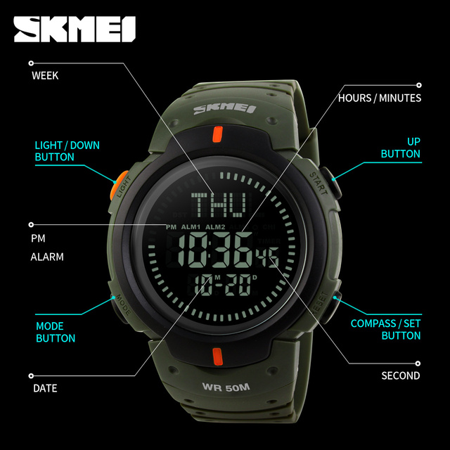 Mens Sports Compass Watch,  Waterproof Digital Outdoor 1