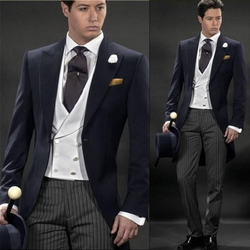 High Quality Morning Style Navy Blue Groom Tuxedos Groomsmen Mens Wedding Suits Prom Bridegroom men suit (Jacket+Pants+Vest+Tie)