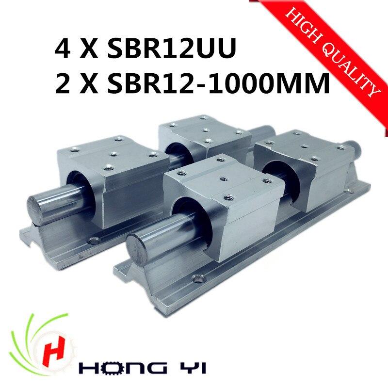 2pcs SBR12 L 1000mm Linear shaft rail support + 4pcs SBR12UU Linear guides bearing blocks For CNC 2pcs sbr12 l 1000mm support rail linear rail guide 4pcs sbr12uu linear bearing blocks cnc router parts