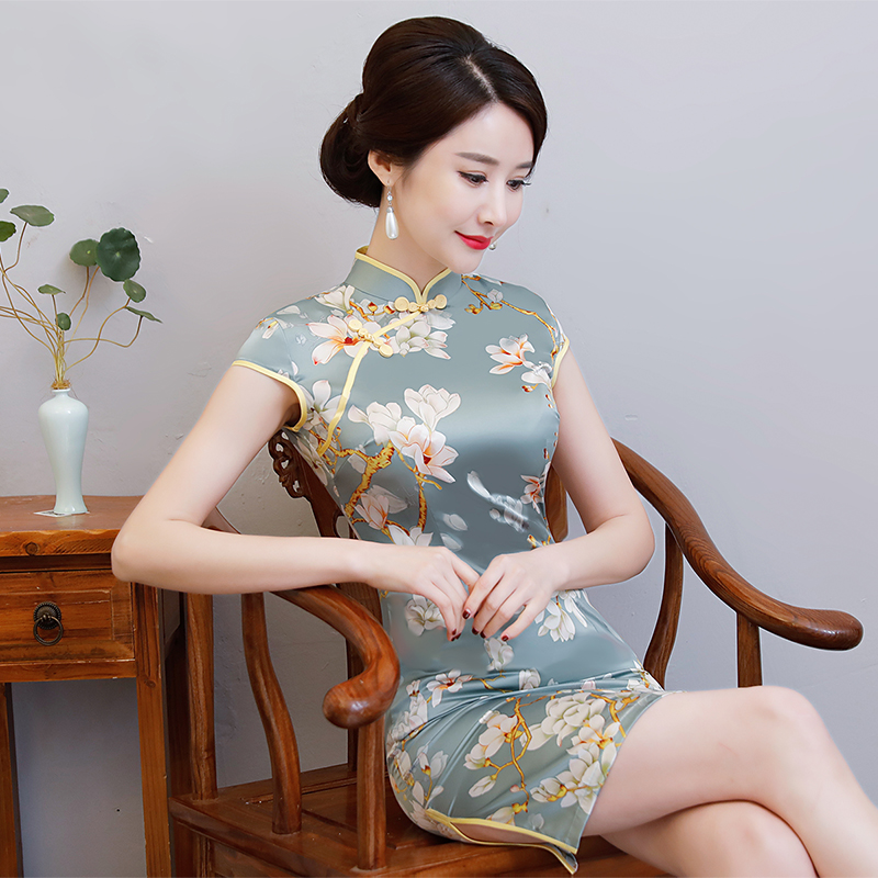New Arrival Women's Satin Mini Cheongsam Fashion Chinese Style Dress Elegant Slim Qipao Clothing Size S M L XL XXL 368483 9