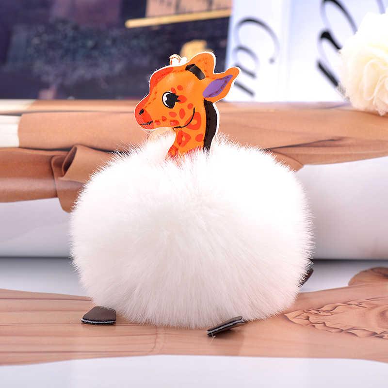 Кролик меховой шар помпон Сика брелок в виде оленя автомобильный чехол для брелка сумка кулон Ювелирное Украшение Брелок для ключей CH3543