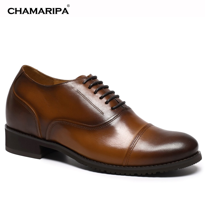 CHAMARIPA Increase Height 7.5cm/2.95 inch Brown Mens Elevator Shoes Tall Men Shoes Hidden Taller  chamaripa increase height 7cm 2 76 inch taller elevator shoes black mens leather summer sandals height increasing shoes