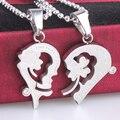 Trevo de prata do amor do coração casal Aço Inoxidável 316L pingente colares de corrente do grânulo para os homens as mulheres por atacado