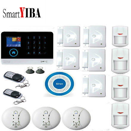 SmartYIBA Alert APP Push Scheduled Set Multi-Zone Location Setting WIFI Home Alarm System with Wireless Siren Horn Smoke Sensor цена