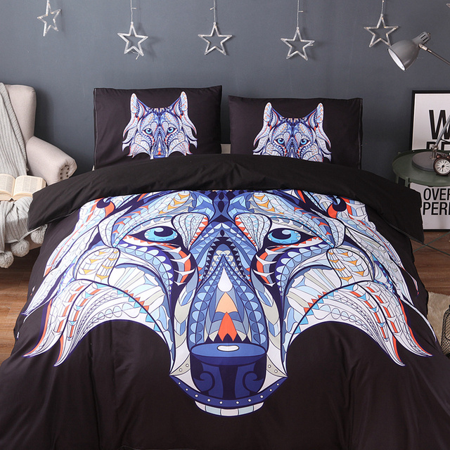 3pcs Wolf Pattern Bedding Set Duvet Cover Set With 2 Pillow Shams
