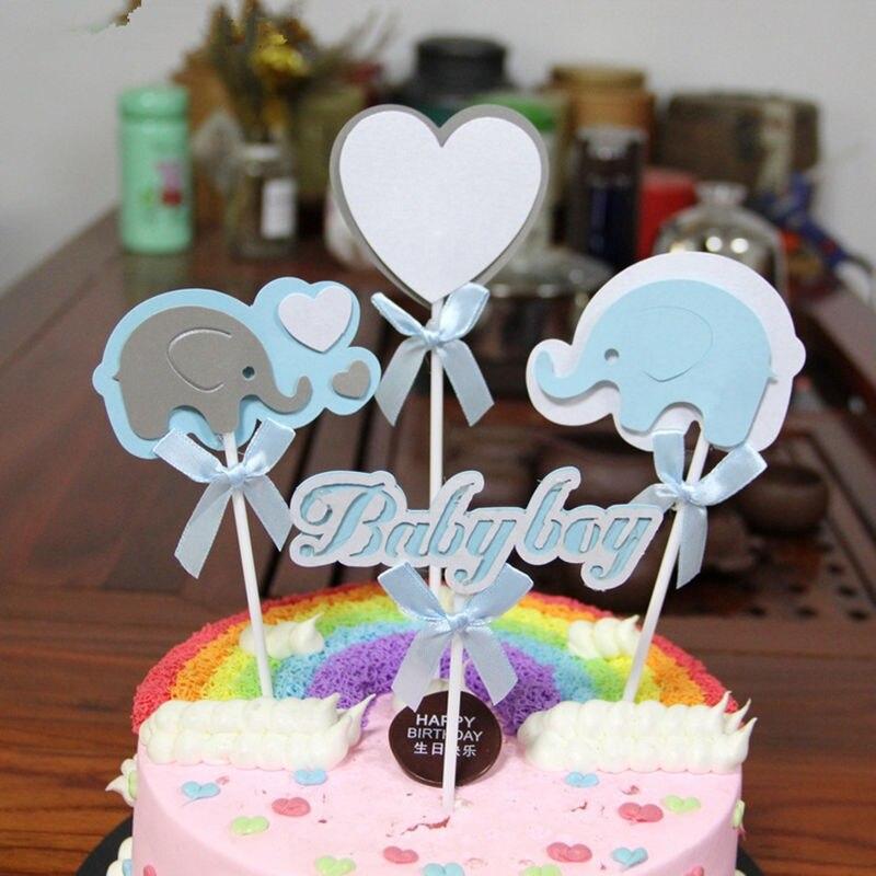 1set Jungle Animal Elephant Cupcake Toppers Picks Birthday Party Decoration Kids Baby Shower Boy Favors Cake Decorating