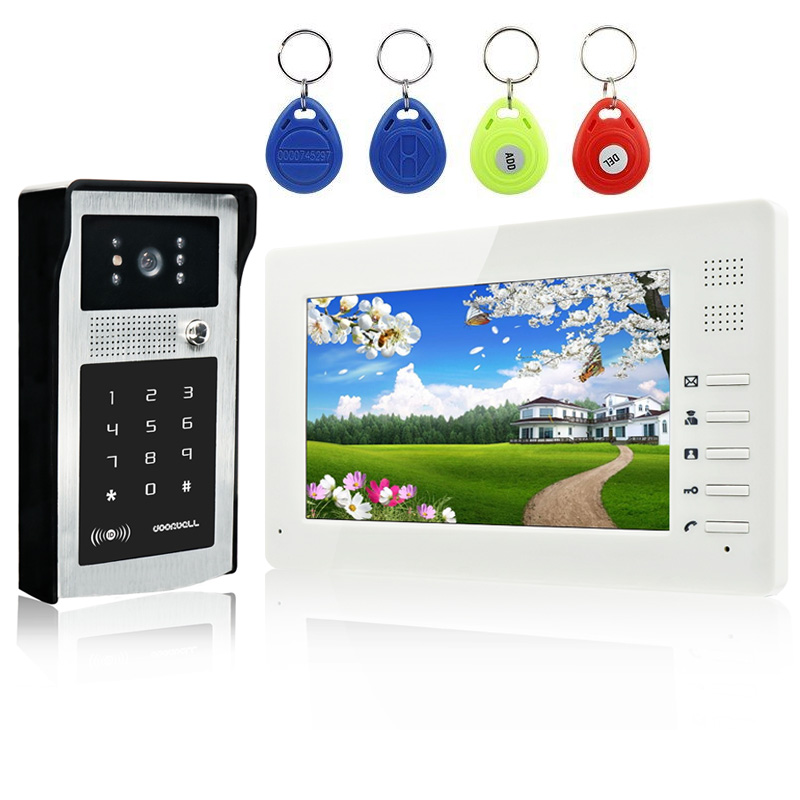 New Video Door Phone Intercom System with 7 inch HD LCD Monitor and Outdoor RFID Code Keypad Doorbell Camera For Home Security homefong 7 tft lcd hd door bell with camera home security monitor wire video door phone doorbell intercom system 1200 tvl