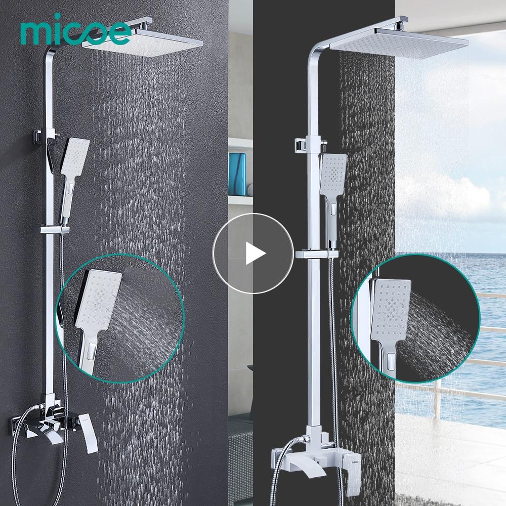Micoe ensemble de douche de salle de bain robinet de baignoire robinet robinet de douche de salle de bain ensemble cascade robinet d'évier de bain mélangeur d'eau froide et chaude