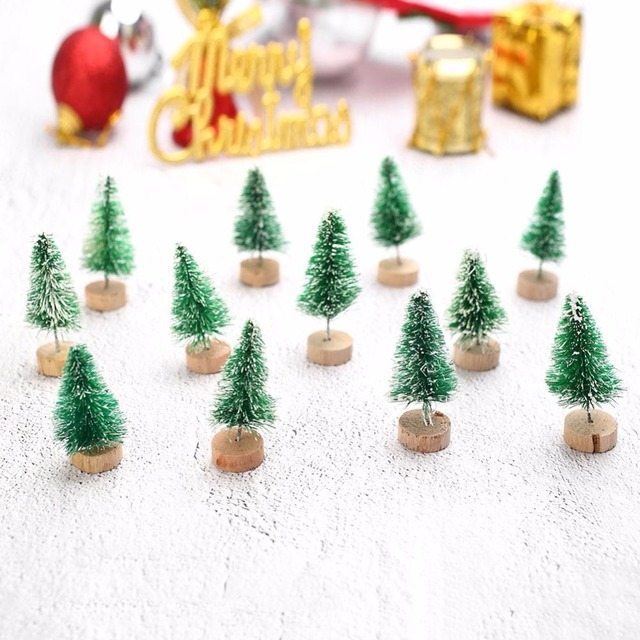 20pcs cute mini sisal fiber christmas tree diy craft desktop decorations ornaments christmas decorations for home
