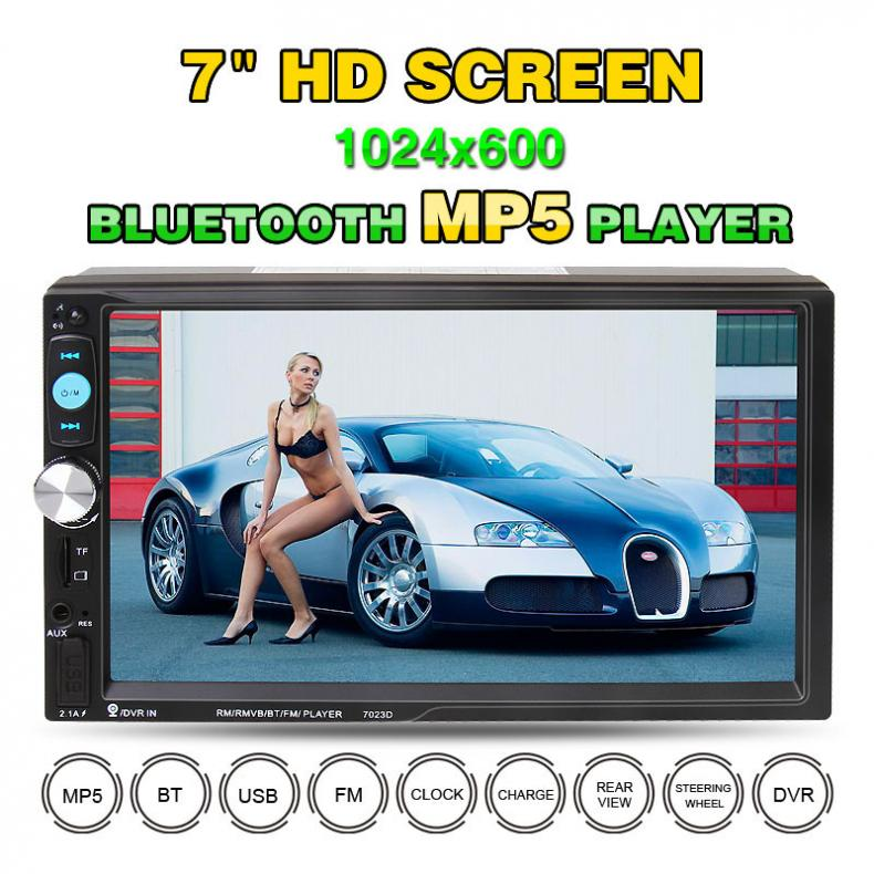 <font><b>7023D</b></font> 7 Inch 2 DIN Bluetooth HD Car Stereo Audio MP5 Player with Card Reader FM Radio Fast Charge Support USB / AUX / DVR image