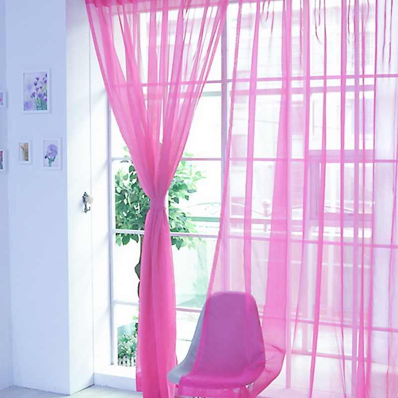 Urijk 100x200cm Solid Door Curtains Drape Panel Sheer Tulle For Living Room White Window Screening Drape Panel Sheer Tulle 1pc