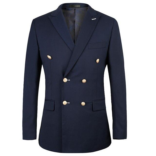 Toturn 2017 Double Ted Suit Men Slim Fit Wedding Suits For Royal Blue Tuxedo Pant 2 Pcs European Size 44 58