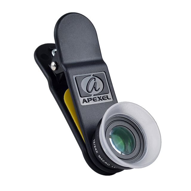 APEXEL Professional 4K Wide lens 0.6X HD super wide angle lens and 12-24X macro lens for iPhone 8 7s plus HTC cellphone 1824X 2