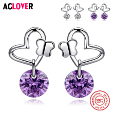 Genuine 925 Sterling Silver Heart Round Shape White/Purple CZ Romantic Stud Earrings For Women Wedding Jewelry Gift