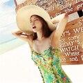Sombrero de paja beach sun cap mujer de Vacaciones de Verano Plegable Grande Ancho Brim Floppy UV protección de primavera sombreros de Ala