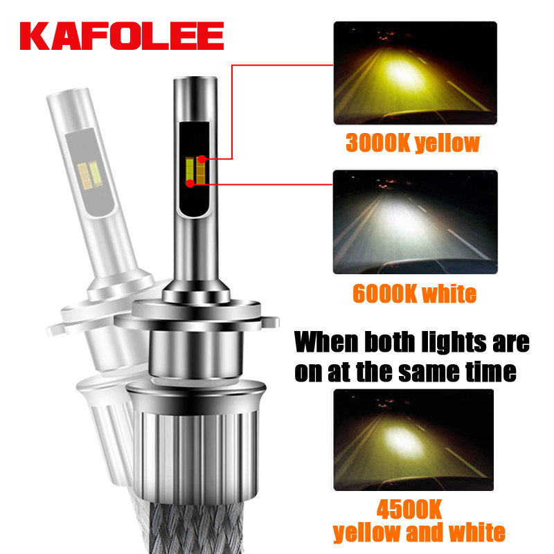 2Pcs Tricolor car h4 led h7 bulb h1 h3 h8 h9 h10 h11 hb3 hb4 9005