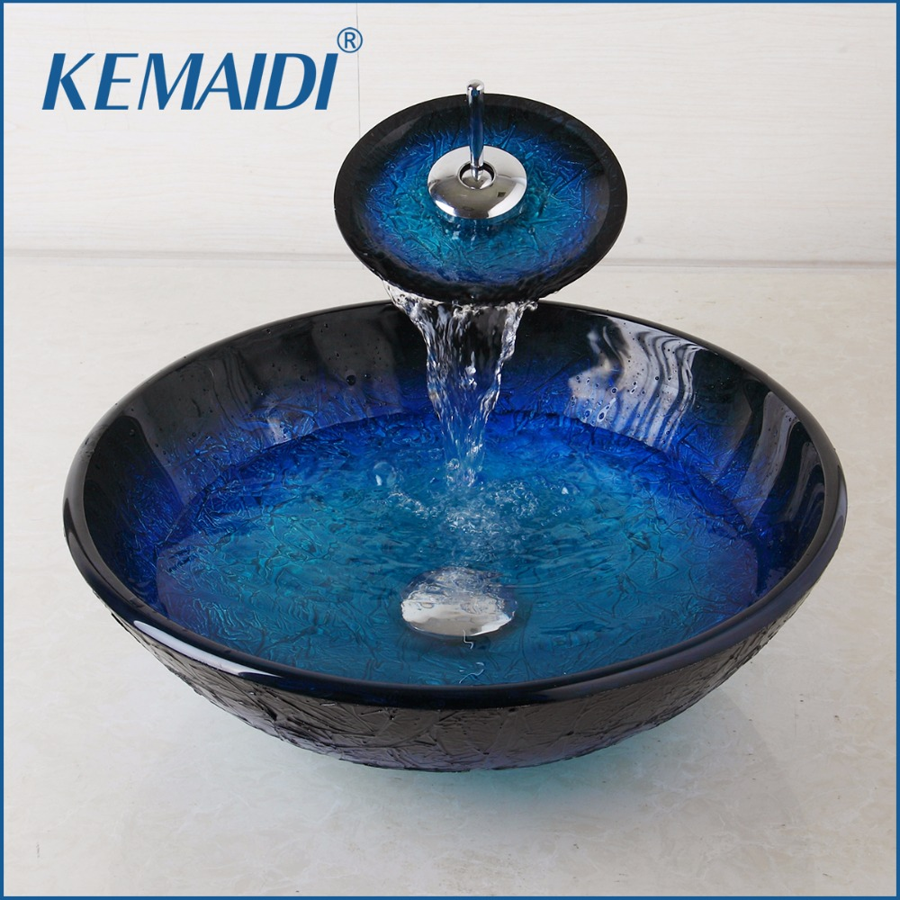 KEMAIDI Tempered Painting Glass Basin Sink Bathroom Waterfall Washbasin Lavatory Combine Vessel Vanity Tap Mixer Faucet Set