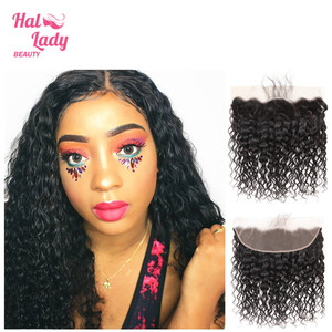 Image 2 - Halo Lady Beauty Natural Water Wave Lace Frontal With Baby Hair Brazilian Human Hair Weft 13*4 Frontal Closure Non remy