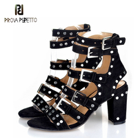 Prova Perfetto Marque Chunky Talon Solide Couleur Sandalias Mujer Clouté Boucle Lanières Cheville Strap Roma Sandale Chaussures Punk Chaussures