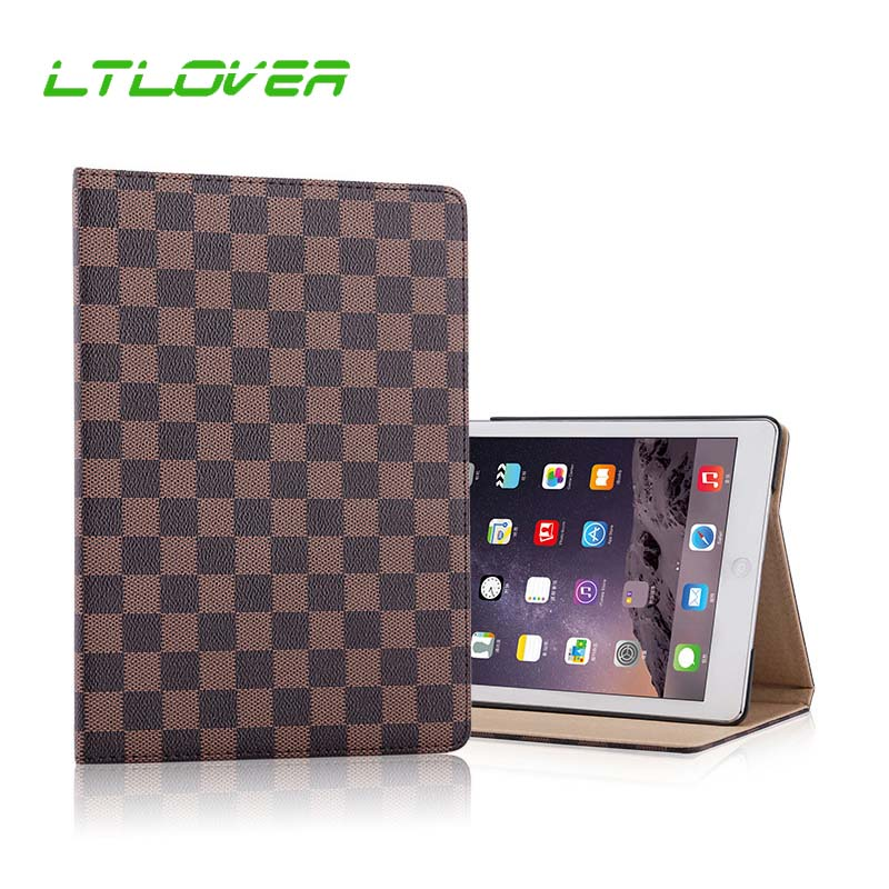 Luxury Lattice Cover Case For iPad Air 2 1 PU Leather Protective Case For iPad Air iPad 5 6 A1474 A1475 A1566 A1567 Tablet Cases for apple ipad air 1 full wrap leather case folio folding cover case with passport case card slot 9 7 inches a1474 a1475 ynmiwei