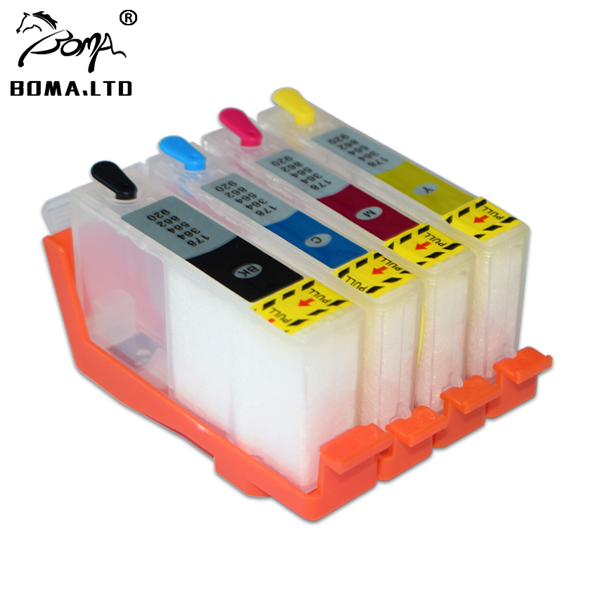 BOMA.LTD HOT !! <font><b>364</b></font> 364xl For HP364 Auto Reset Chip Refillable Ink Cartridges For <font><b>HP</b></font> 3520 3522 3524 4620 4622 5510 5511 5512 5514 5515 5520 5521 5522 5524 5525 3070A B010B CN255C 7520 7525 Printer image