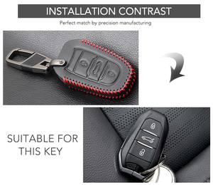 Image 2 - Car Key Case Cover For Peugeot 301 308 408 508 2008 308S 3008 4008 5008 307 Accessories Genuine Leather Keychain Bag Holder