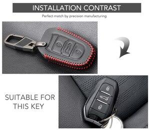 Image 2 - Funda para llave de coche para Peugeot 301, 308, 408, 508, 2008, 308S, 3008, 4008, 5008, accesorios, llavero de cuero genuino, soporte para bolso