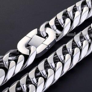 Image 3 - Moda 18mm erkek zincir erkek Biker ağır gümüş renk kesim çift gem zinciri Rombo 316L paslanmaz çelik kolye takı DLHN54