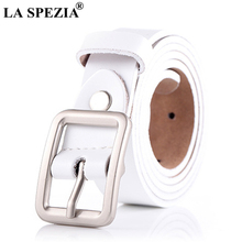 LA SPEZIA Women Belt White Real Leather Belts Female Vintage Genuine Cowhide Casual Brand Ladies Square Pin Buckle