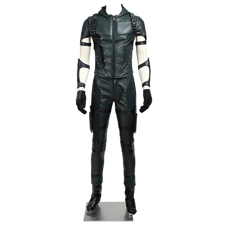 Green Arrow Season 4 Costume Oliver Queen Cosplay Leather Jacket Pants Superhero Halloween Carnival  Men Outfit Custom Made