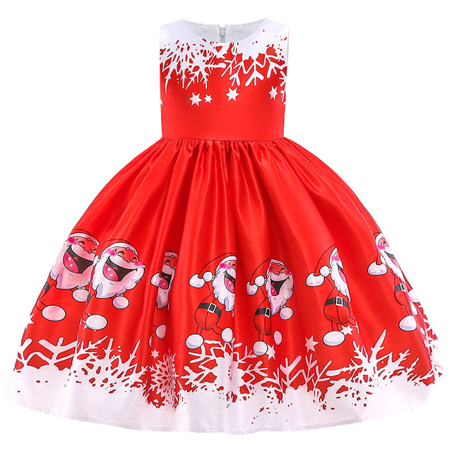 New Christmas Gift For Baby Girl Winter Snowman Dress 3-10 Years Old 3