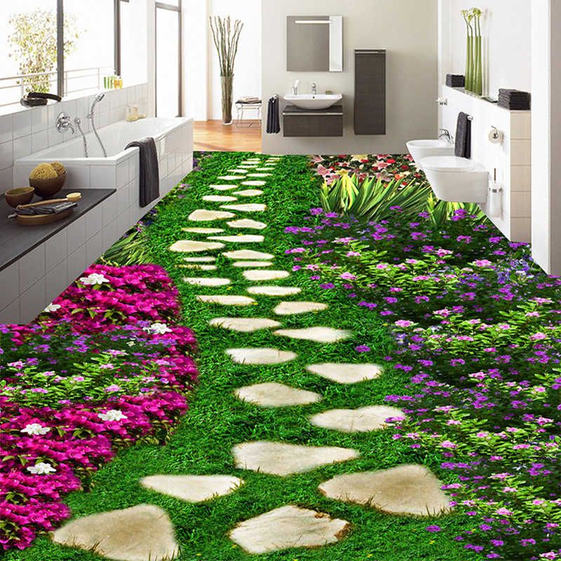 Floral Flowers Stone Small Road 3D Floor Sticker PVC Self Adhesive Wear-resistant 3D Floor Mural Wallpaper Modern Home Decor