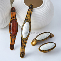10PCS Ceramic Crack Door Handles European Antique Furniture Handle Cupboard Drawer Pulls Kitchen Cabinet Handles And